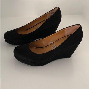 Black suede a.n.a wedge heels